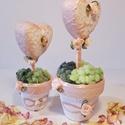 Rosegold rózsa szív kerámia kaspóban esküvői, elhegyzési, házassági évfordulós dekoráció, asztali dísz, vendég ajándék. , Dekoráció, Esküvő, Esküvői dekoráció, Meghívó, ültetőkártya, köszönőajándék, Rosegold rózsa szív kerámia mini kaspóban esküvői, elhegyzési, házassági évfordulós dekor..., Meska