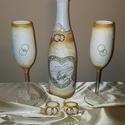 Arany galamb BB pezsgő, pezsgős pohár és szalvétagyűrű esküvőre eljegyzésre, leánybúcsúba, legénybúcsúba, nászajándékba., Esküvő, Szerelmeseknek, Esküvői dekoráció, Nászajándék, Decoupage, transzfer és szalvétatechnika, Fehér rózsa  BB pezsgő, pezsgős pohár és szalvétagyűrű esküvőre, eljegyzésre, leánybúcsúba, legényb..., Meska