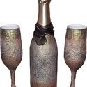 Egyedileg névre szólóan feliratozható vintage pezsgő és pezsgős poharak eljegyzésre, házasságkötésre, nászajándékba..., Esküvő, Konyhafelszerelés, Nászajándék, Esküvői dekoráció, Decoupage, transzfer és szalvétatechnika, Egyedileg névre szólóan feliratozható vintage stíusú pezsgő és pezsgős poharak eljegyzésre, házassá..., Meska