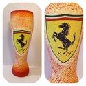 Ferrari autó rajongói sörös pohár 500 ml , Konyhafelszerelés, Férfiaknak, Sör, bor, pálinka, Decoupage, transzfer és szalvétatechnika, Ferrari autó rajongói sörös pohár 500 ml   Sör kedvelőknek kötelező kellék! Kiváló ajándék mikulásr..., Meska
