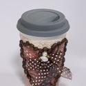 Kávés, cappucinos kerámia pohár szilikon fedővel, a hasznos utitárs mindehol, ajándék kávéimádóknak, Konyhafelszerelés, Otthon, lakberendezés, Fűszertartó, Kávés, cappucinos kerámia pohár szilikon fedővel, a hasznos utitárs mindehol, ajándék kávéimádóknak...., Meska