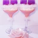 Púder rózsaszín szőrmés boros poharak hölgyeknek névnapra, szülinapra, valentin napra, nőnapra., Konyhafelszerelés, Esküvő, Nászajándék, Esküvői dekoráció, Babarózsaszín szőrmés boros poharak hölgyeknek névnapra, szülinapra, valentin napra, nőnapra, eljegy..., Meska