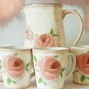 Púder rózsa teáskacsó bögrékkel hölgyeknek névnapra, szülinapra, valentin napra, nőnapra., Konyhafelszerelés, Bögre, csésze, Kancsó , Púder rózsa teáskancsó hölgyeknek névnapra, szülinapra, valentin napra, nőnapra.  Űrtartalma, anyaga..., Meska