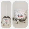 Audi húsvéti kerámia tojástartó és gyertyatartó 2 az 1-ben autó rajongói ajándék nem csak húsvétra, Konyhafelszerelés, Otthon, lakberendezés, Dekoráció, Gyertya, mécses, gyertyatartó, Decoupage, transzfer és szalvétatechnika, Audi húsvéti kerámia tojástartó és gyertyatartó 2 az 1-ben autó rajongói ajándék nem csak húsvétra:..., Meska