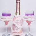 Szerelmes szivek pezsgős pohár pezsgővel esküvőre, eljegyzésre, leánybúcsúba, legénybúcsúba, nászajándékba., Esküvő, Szerelmeseknek, Esküvői dekoráció, Nászajándék, Decoupage, transzfer és szalvétatechnika, Szerelmes szívek pezsgős poharak pezsgővel esküvőre, eljegyzésre, leánybúcsúba, legénybúcsúba, nász..., Meska