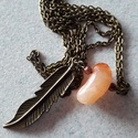 Narancs levelecske, Ékszer, Nyaklánc, A nyaklánc a következő anyagokból készült:  - bronz színű levél medál - karneol ásvány -..., Meska