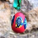 Millefiori kis tojás, piros - dekoráció, Húsvéti díszek, Kis, felakasztható tojás Plast-Kitt gyurmából, millefiori technikával készült! 5 darab van be..., Meska