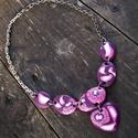Millefiori mintás nyaklánc szív medállal - lila, Ékszer, Nyaklánc, Medál, Millefiori technikával alkottam meg ezt a szép tavaszi-nyári nyakláncot, szív medállal, saját..., Meska