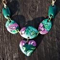 Millefiori mintás nyaklánc szív medállal - zöld-lila, Ékszer, Nyaklánc, Medál, Millefiori technikával alkottam meg ezt a szép tavaszi-nyári nyakláncot, szív medállal, saját..., Meska