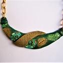 Millefiori mintás nyakperec - sötétzöld alapon, arany gyurmával