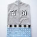 szürke óvodai zsák állatos mintával(bagoly, lovacska),  Saját tervezésű mintából készült az alapan...