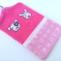 pink óvodai zsák kutyusos mintával(jackrussel, bullterrier), Saját tervezésű mintából készült az alapany...