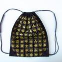 Hátizsák matyó piktogramm virágokkal, arannyal szitázva, Erős munkaruha vászonból készült ez a hátizs...