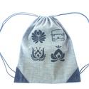 Hátizsák farmerből, fekete matyó virágokkal és matyó legénnyel, Erős farmer vászonból készült ez a hátizsák...