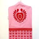 rózsaszín óvodai zsák matyó szívvel, Saját tervezésű mintából készült az alapany...