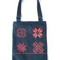 vászon táska  modern csillag mintázattal, piros festékkel, Az egyedi tervezésű táska alapanyaga vastag, ta...