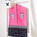 Ovis zsák, nyuszi-maci duó, pink, Saját tervezésű mintából készült az alapany...