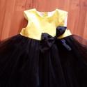 alkalmi fekete tülszoknyás sárga pöttyös ruhácska, Baba-mama-gyerek, Ruha, divat, cipő, Gyerekruha, Kisgyerek (1-4 év), Egyedi 98as méret tülszoknyás ruhácska, Meska