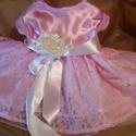 alkalmi keresztelő koszoruslány ruhácska Emma, 74es méret. Egyedi rózsszin szatén felső Csipk...
