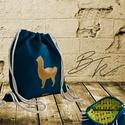 Alpacás Tornazsák, Táska, Hátizsák, 40*45 cm-es azúrkék textilbőrből készült tornazsák. Mustársárga alpaca sziluett díszítés..., Meska