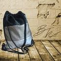 Fekete-szürke-ezüst tornazsák, Táska, Hátizsák, 40*45 cm méretű metál fekete ezüst és szürke textilbőrből készült tornazsák 8 mm-es pamut..., Meska