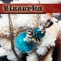 Türkiz üveggömb medál 18 mm-es, nyakláccal, Ékszer, Fülbevaló, Türkiz üveggömb medál 18 mm-es üveggömböt türkiz színű dekor-homokkal töltöttem és nikkel ezüst szín..., Meska