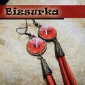 Bojtos-Üveglencsés fülbevaló  - piros virágos, Ékszer, Fülbevaló, Bojtos fülbevaló 16 mm-s üveglencs  A fülbevalóhoz egy piros grafikát választottam és bronz ..., Meska
