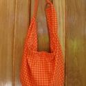 Narancs kockás táska, Táska, Válltáska, oldaltáska, Tarisznya, Varrás, Nagy méretű női táska narancssárga kockás vászonból.  Anyaga könnyű, laza esésű. Igazán fiatalos, v..., Meska