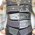 Fekete -szürke mellény, Mindenmás, Ruha, divat, cipő, Női ruha, Felsőrész, póló, Rátétes technikával készült, elején és hátán formázó varrásokkal elkészített mellény...., Meska