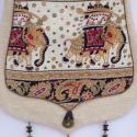 AKCIÓS!!! Fehér, elefántos fedeles táska, Táska, Ruha, divat, cipő, Baba-mama-gyerek, Válltáska, oldaltáska, Vidám táska, az elefánt mintát kedvelőknek!  Fehér dekorszövetből készült, csepp formájú..., Meska
