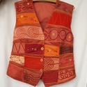 Narancs-tégla színű, gyöngyös, applikált mellény 2., Táska, Divat & Szépség, Női ruha, Ruha, divat, Póló, felsőrész, Rátétes technikával készült, elején és hátán formázó varrásokkal elkészített mellény. Elejét és hátá..., Meska