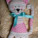 Rózsaszín pöttyös csíkos vintage cica, Ez a vidám kissé romantikus cica szerető gazdir...