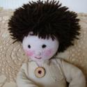 Marci kisfiú baba, Játék, Plüssállat, rongyjáték, Marci textilből készült saját tervezésű babáim egyike. 30 cm magas, kitárt keze 25 cm, vatelin tömés..., Meska