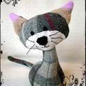 Lajkó - Meggymagos babzsák marok cica, Lajkó a kiscica (19 x 12 cm) gyapjúszövet és p...