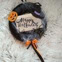 Halloween-i ajtódísz, kopogtató, Otthon, lakberendezés, Dekoráció, Ajtódísz, kopogtató, Dísz, 20 cm átmérőjű Halloween-i ajtódísz., Meska