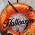 Halloween-i ajtódísz, kopogtató 2., Otthon, lakberendezés, Dekoráció, Ajtódísz, kopogtató, Dísz, 20 cm átmérőjű Halloween-i ajtódísz., Meska