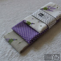 Levendulás textilzsebkendő szett - 3 darabos, Ruha, divat, cipő, Szépségápolás, Kendő, sál, sapka, kesztyű, Varrás, A levendula kedvelőinek... A szett három darab zsebkendőt tartalmaz: egy drapp, valamint egy fehér ..., Meska