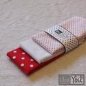 VALENTIN piros pöttyös textilzsebkendő szett - 3 darabos, Ruha, divat, cipő, Szépségápolás, Dekoráció, Kendő, sál, sapka, kesztyű, Varrás, A szett három darab zsebkendőt tartalmaz: egy piros alapon fehér pöttyöset, egy fehér alapon piros ..., Meska