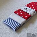 Vízre fel! - tengerész mintás textilzsebkendő szett - 3 darabos, Ruha, divat, cipő, Szépségápolás, Férfiaknak, Kendő, sál, sapka, kesztyű, Varrás, A szett három darab zsebkendőt tartalmaz: egy tengerészkék csíkosat, egy piros pöttyöset és egy hóf..., Meska