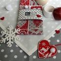 Skandináv, rusztikus szalvéta szívekkel, piros, bézs és krém színekben, Dekoráció, Ünnepi dekoráció, Karácsonyi, adventi apróságok, Karácsonyi dekoráció, Tervezd meg már most otthonod adventi, karácsonyi hangulatát, színeit! Ez a rusztikus, romantiku..., Meska