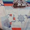 DUPLA ágyra gumis lepedő - Irány a tenger, Otthon, lakberendezés, Férfiaknak, Lakástextil, Ágynemű, Varrás, Unod már az egyszínű lepedőt? Dobd fel hálószobátokat ezzel a tengerész lepedővel! Vitorlás, kormán..., Meska