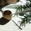 Antik arany pöttyös karácsonyi textil szalvéta és gyűrű, Dekoráció, Ünnepi dekoráció, Karácsonyi, adventi apróságok, Karácsonyi dekoráció, Öltöztesd otthonodat a fehér és arany gyönyörű kombinációjába! Tedd ünnepivé az örömte..., Meska