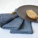 Melange denim blue LENVÁSZON szalvéta - 2 db, Dekoráció, Otthon, lakberendezés, Konyhafelszerelés, Lakástextil, Egyszerű, letisztult. Rusztikus, egyben elegáns hangulatú. A textilszalvéták különleges, ötletes és ..., Meska