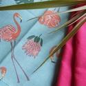 Türkiz flamingós zsebkendő szett  - 3 darabos, Ruha, divat, cipő, Kendő, sál, sapka, kesztyű, Kendő, FLAMINGÓ rajongóknak:) készítettem ezt a vidám színes nyári zsebkendő szettet! Nem használtál eddig ..., Meska