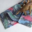 DÍnós textil zsebkendő kisfiúknak, sötétkék, Baba-mama-gyerek, Játék, Baba-mama kellék, Plüssállat, rongyjáték, A szett három darab puha pamut zsebkendőt tartalmaz: egy szürke dinoszaurusz mintásat - csontokkal é..., Meska