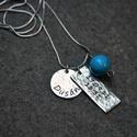 Baba medál , Ékszer, óra, Medál, Ékszerkészítés, Ötvös, Egyedi készítésű medál Sterling ezüstből  60 cmes láncal  Név és Évszám egy kis türkiz gömbel, Meska