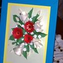 Gerbera , liziantusz csokor, Dekoráció, Otthon, lakberendezés, Kép, Falikép, Virágcsokor fehér liziantusz és piros gerbera üdítően szép összeállításából quilling technikával, fe..., Meska
