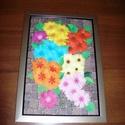 Színes virágcsokor falikép, Dekoráció, Otthon, lakberendezés, Kép, Falikép, 23x39 cm-es, színes virágcsokrot ábrázoló, szívet-lelket vidító falikép, pezsgőszínű műanyag keretbe..., Meska