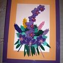 Lila orchidea csokor -falikép, Dekoráció, Otthon, lakberendezés, Kép, Falikép, Csokor, 33x44 cm-es keretben quilling (papírcsík) technikával készített falikép. A lila több árnyalatában ké..., Meska
