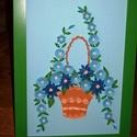 Virágkosár -  falikép, Dekoráció, Otthon, lakberendezés, Kép, Falikép, A4-es méretű romantikus virágkosarat ábrázoló falikép apró kék virágokkal, műanyag keretben. Quillin..., Meska